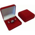 Футляр флок, квадрат №07 кольцо+серьги, 3 язычка, красный, 120607