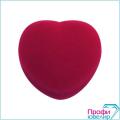 Футляр флок, сердечко №12 кольцо-серьги, бордовый, 120112
