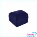 Футляр флок, квадрат №12 кольцо-серьги, Н-прорезь, темно-синий