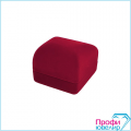 Футляр флок, квадрат №12 кольцо-серьги, Н-прорезь, бордовый