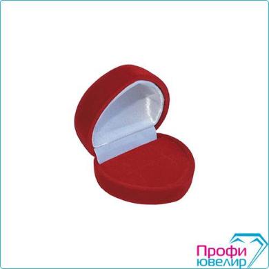Футляр флок, сердечко №12 кольцо-серьги, красный, 120112