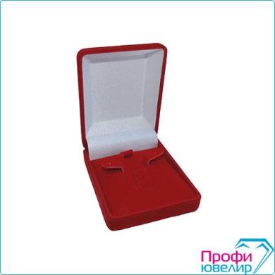 Футляр флок, прямоуг №07 кольцо+серьги, 3 язычка, красный, 120507