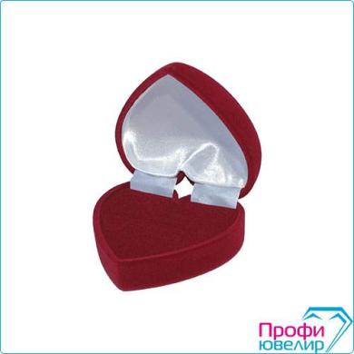 Футляр флок, сердечко(№12 кольцо/серьги (Н-прорезь), бордовый), 140712