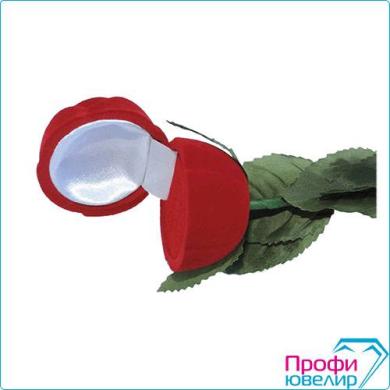 Футляр флок, роза на стебле №12 кольцо-серьги, розовый, 140212