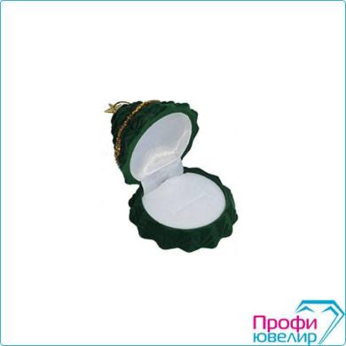 Футляр флок, ёлочка №41 кольцо-серьги, 3 прорези, зеленый, 137941