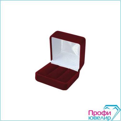 Футляр флок, квадрат №02 под серьги, 2 валика, бордовый, 121002