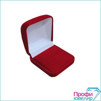 Футляр флок, прямоуг №01 под кольцо, валик, красный, 120301