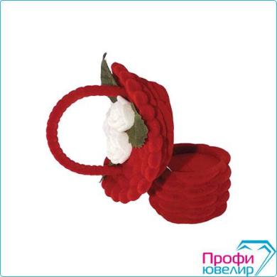 Футляр флок, корзина с цветком №12 кольцо-серьги, красный