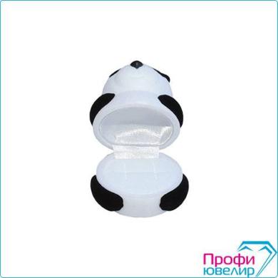 Футляр флок, мишка-панда №12 кольцо-серьги, черно-белый