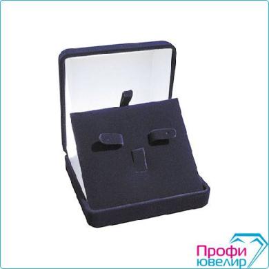 Футляр флок, квадрат №07 кольцо+серьги, 3 язычка, темно-синий