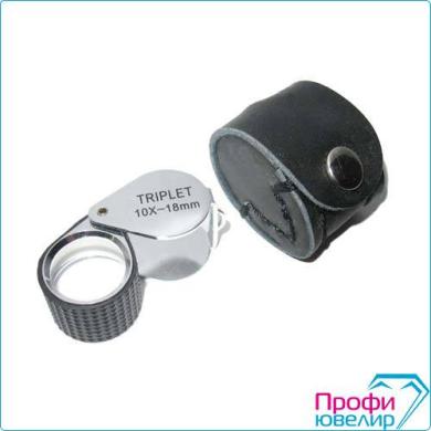 Лупа ручная TRIPLET COLORED серебро 7007D 10Х- 18мм